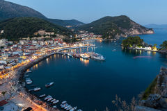 The harbor of Parga by night, Greece, Ionian Islands Royalty Free Stock Photos