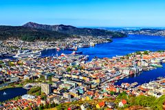 Harbor, park and lake in Bergen, Norway Royalty Free Stock Photography