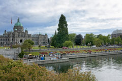 Harbor, park and provincial parliament of British Columbia. Royalty Free Stock Photos