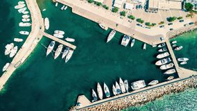 Harbor with parked boats. Aerial top view of the harbor with parked boats stock video footage