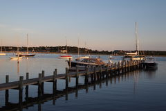 Harbor with a pier. At sunset Royalty Free Stock Photo