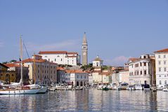 The harbor of Piran Stock Photo