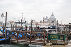 Harbor for pleasure boats on Grand Canal in Venice Royalty Free Stock Images