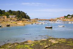 Harbor in Ploumanach, Brittany, France Royalty Free Stock Image