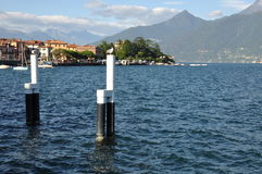 Harbor pole in the water Lake Como Royalty Free Stock Photography