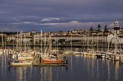 Harbor-Ponta Delgada,Azores. Morning light on boats in the harbor of Ponta Delgada,Azores,Portugal Stock Images