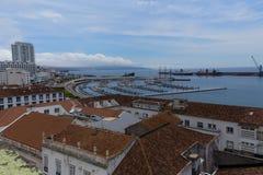 Harbor of Ponta Delgada. View from the balcony Municipal city hall  on the harbor of Ponta Delgada Royalty Free Stock Images