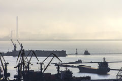 Harbor and port with cranes and ships, industrial background Stock Photo