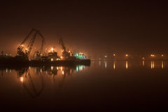 Harbor or port at night Stock Photography