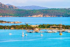 Harbor at Porto Rotondo in Costa Smeralda resort Sardinia. Harbor with boats at Porto Rotondo in Golfo Aranci in Costa Smeralda resort in Mediterranean sea royalty free stock photos