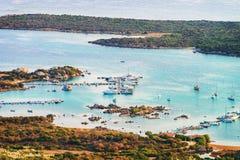 Harbor at Porto Rotondo on Costa Smeralda resort Sardinia. Harbor with boats at Porto Rotondo and Golfo Aranci on Costa Smeralda resort in Mediterranean sea stock image