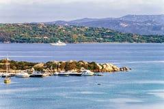 Harbor in Porto Rotondo in Costa Smeralda resort Sardinia. Harbor with boats in Porto Rotondo in Golfo Aranci in Costa Smeralda resort in Mediterranean sea royalty free stock photos