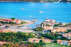 Harbor at Porto Rotondo Costa Smeralda resort Sardinia. Harbor with boats at Porto Rotondo in Golfo Aranci, Costa Smeralda resort on Mediterranean sea, Sardinia royalty free stock images