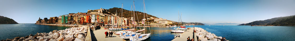 The Harbor at Porto Venere. A panoramic photo of the harbor at Porto Venere, Italy.  The village is located on the Ligurian coastline just south of Riomaggiore Stock Photos