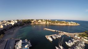 Harbor of Portocristo from the Air - Aerial Flight, Mallorca stock video footage