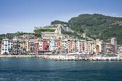 Harbor Portovenere, Spezia, Italy, Liguria: 08 august 2018. Panorama of colorful picturesque harbor of Porto Venere with San royalty free stock photos