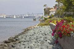 Harbor profile and San Diego marine terminal. Royalty Free Stock Images