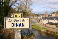 The harbor on the Rance river in Dinan, France Royalty Free Stock Image