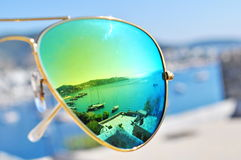 Harbor reflecting in sunglasses. Bodrum harbor reflecting in sunglasses Stock Photos