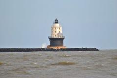 Harbor of Refuge Light. The harbor of refuge breakwater light at Cape Henlopen in the Delaware Bay Royalty Free Stock Image
