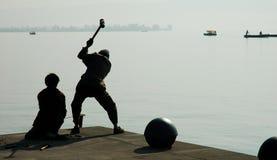 Harbor repair work Stock Images