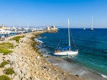 Harbor of Rhodes, Greece Royalty Free Stock Photography