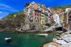 Harbor of Riomaggiore, Cinque Terre Stock Photo