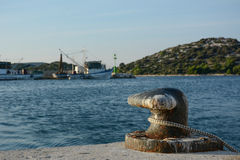 Harbor. And rope in Croatia Stock Image
