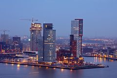 The harbor from Rotterdam by night in Netherlands. The harbor from Rotterdam by night in the Netherlands Stock Photography