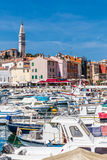 Harbor In Rovinj And Church Tower-Istria,Croatia Stock Images