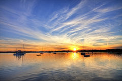 Harbor with sailboats hdr Stock Photography