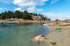 Harbor of Saint Guirec at low tide (France) Stock Image