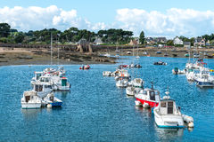 Harbor of Saint Guirec at low tide (France) Stock Photos