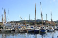 The harbor of Saint Tropez. In Provence in the french Riviera in the south of France royalty free stock image