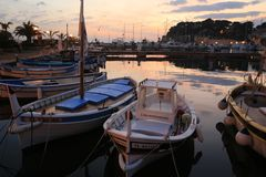 The harbor of Sanary sur Mer. In Provence in the french Riviera in the south of France stock photography