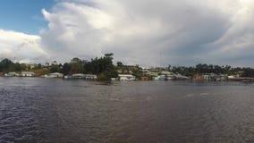 Harbor of Santo Antonio Do Ica on the Amazon River in Brazil. Village and the harbor of Santo Antonio Do Ica with blue sky, on the Amazon River. Brazil 2015 stock footage