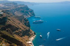 Harbor in Santorini with cruise ships Stock Photography