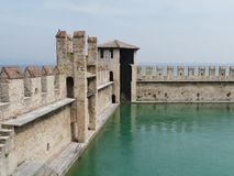 Harbor of the Scaliger Castle at the lago di Garda Royalty Free Stock Image