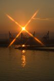 Harbor scene in athens Greece Royalty Free Stock Photo