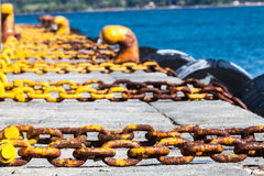 Harbor, sea holidays. Chains royalty free stock photos