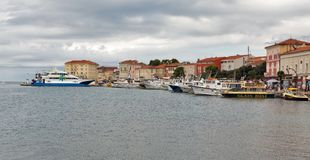 Harbor with seafront in Porec, Crioatia. Royalty Free Stock Image
