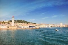 Harbor of Sete, Languedoc-Roussillon, France. View on the harbor of Sete with  Lighthouse of the Saint-Louis mole, Sete, Languedoc-Roussillon, France royalty free stock photography