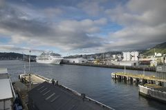The harbor of ships is very beautiful on a river. In New Zealand d.y Royalty Free Stock Photo
