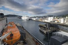 The harbor of ships is very beautiful on a river. In New Zealand d.y Stock Photo