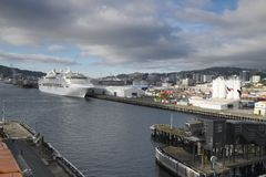 The harbor of ships is very beautiful on a river. In New Zealand d.y Stock Photography