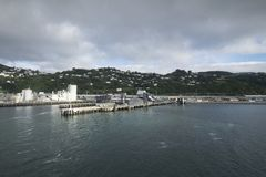 The harbor of ships is very beautiful on a river. In New Zealand d.y Royalty Free Stock Photography