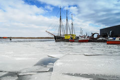 Harbor and ships in the winter Royalty Free Stock Photography