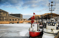 Harbor and ships in the winter Stock Photos