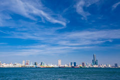 Harbor sight view with tallest building Royalty Free Stock Photo