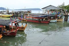 Harbor at Sihanoukville in Cambodia stock photos